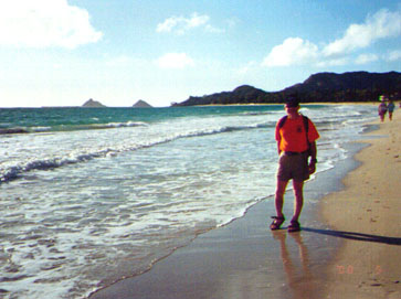 Neil strolling Kailua Beach, windward Oahu