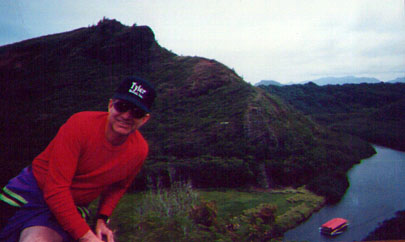 Neil with Wailau River in background, the only Hawaiian navigable river